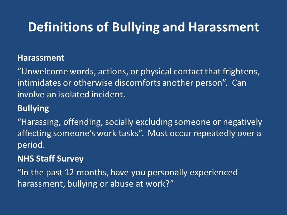 Definitions of Bullying and Harassment