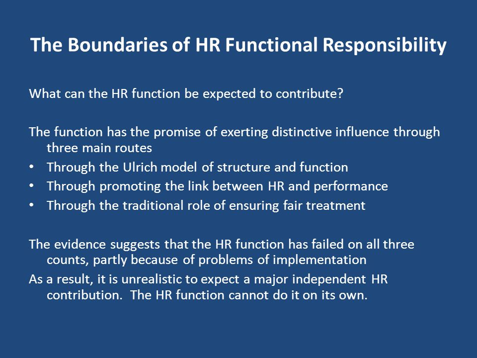 The Boundaries of HR Functional Responsibility