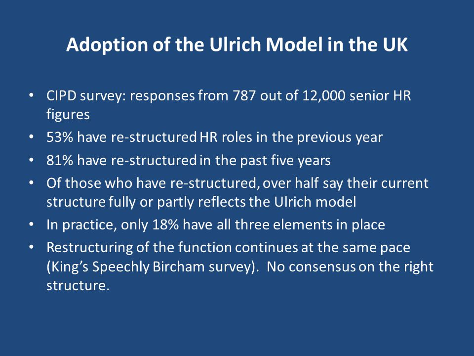 Adoption of the Ulrich Model in the UK