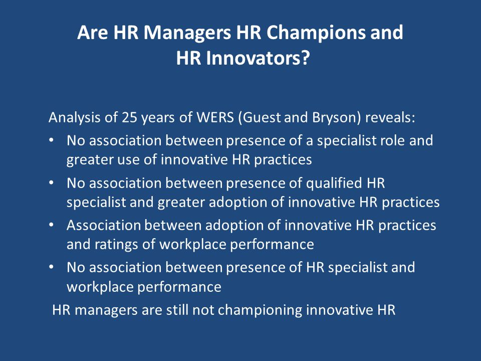 Are HR Managers HR Champions and HR Innovators
