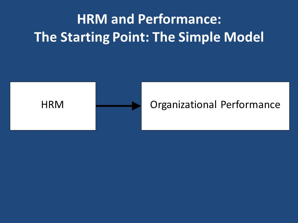 HRM and Performance: The Starting Point: The Simple Model