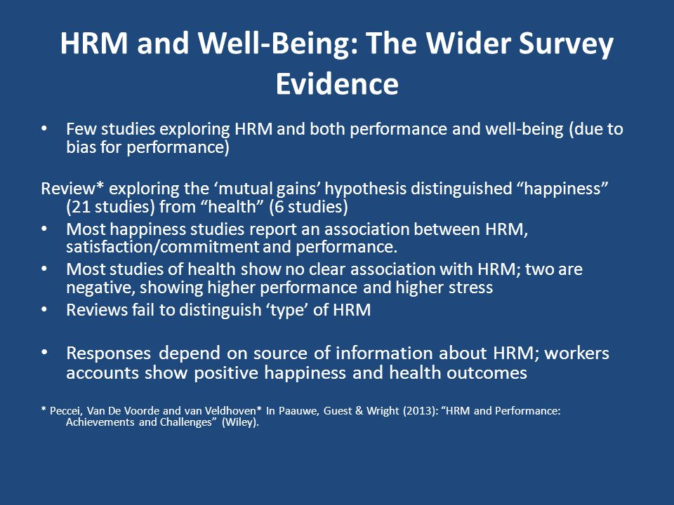 HRM and Well-Being: The Wider Survey Evidence