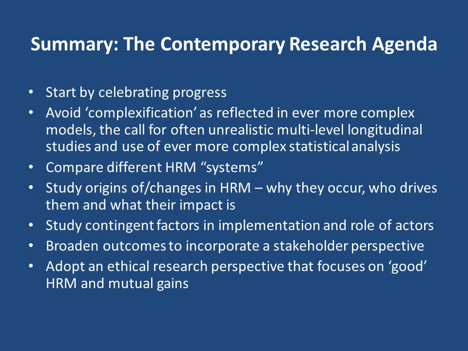 Summary: The Contemporary Research Agenda