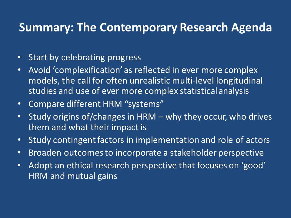 Summary: The Contemporary Research Agenda