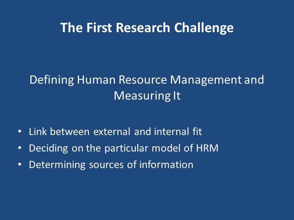 The First Research Challenge