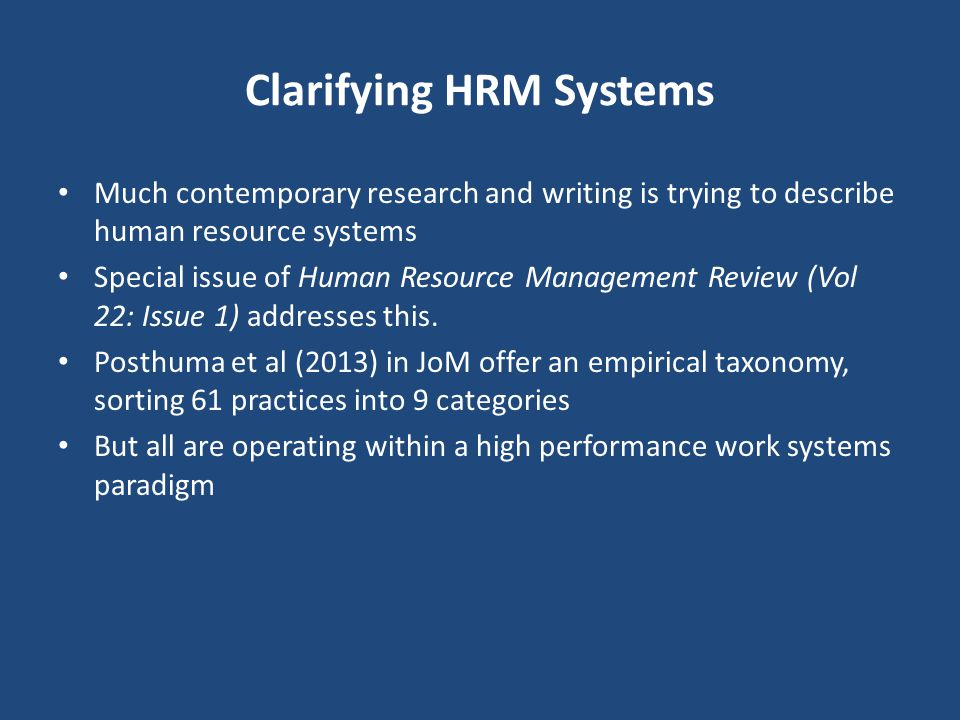 Clarifying HRM Systems