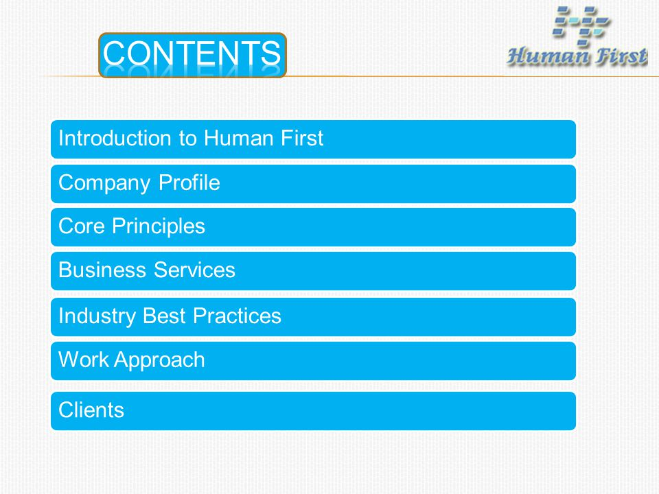 CONTENTS Introduction to Human First Company Profile Core Principles
