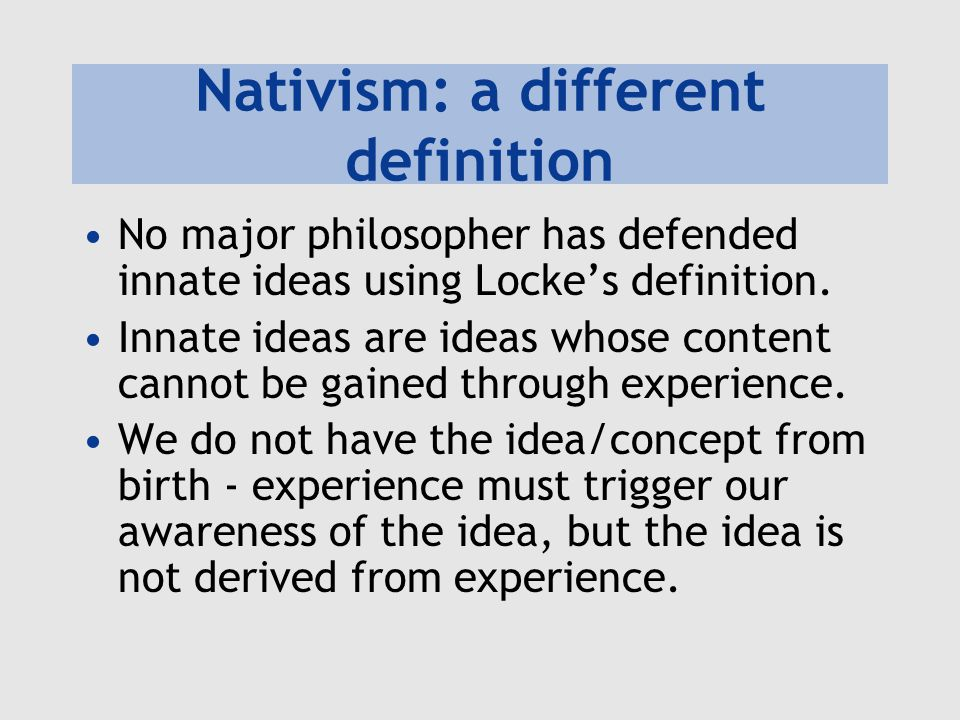 Nativism: a different definition