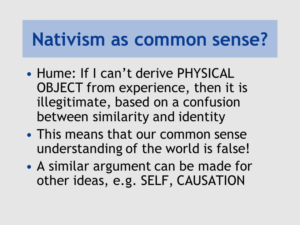 Nativism as common sense