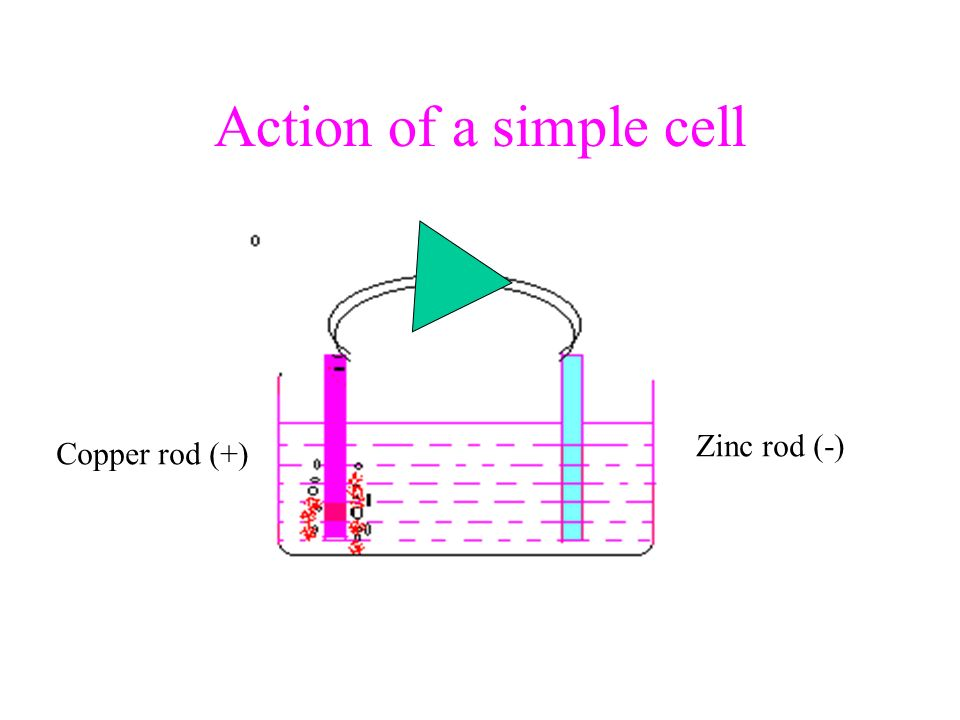 Action of a simple cell Zinc rod (-) Copper rod (+)