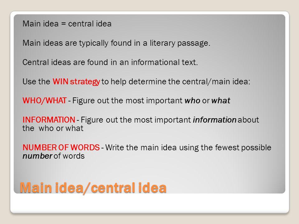 Main idea/central idea