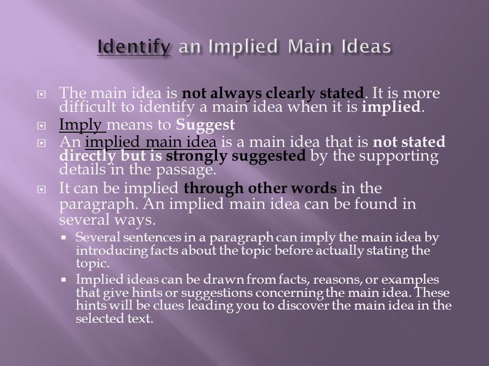 Identify an Implied Main Ideas