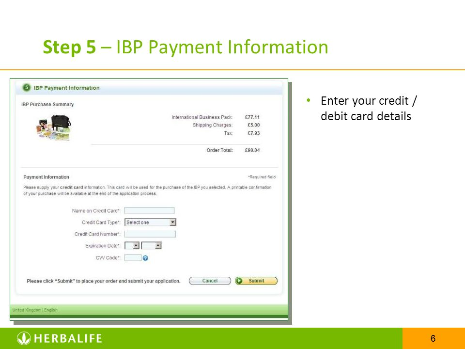 Step 5 – IBP Payment Information