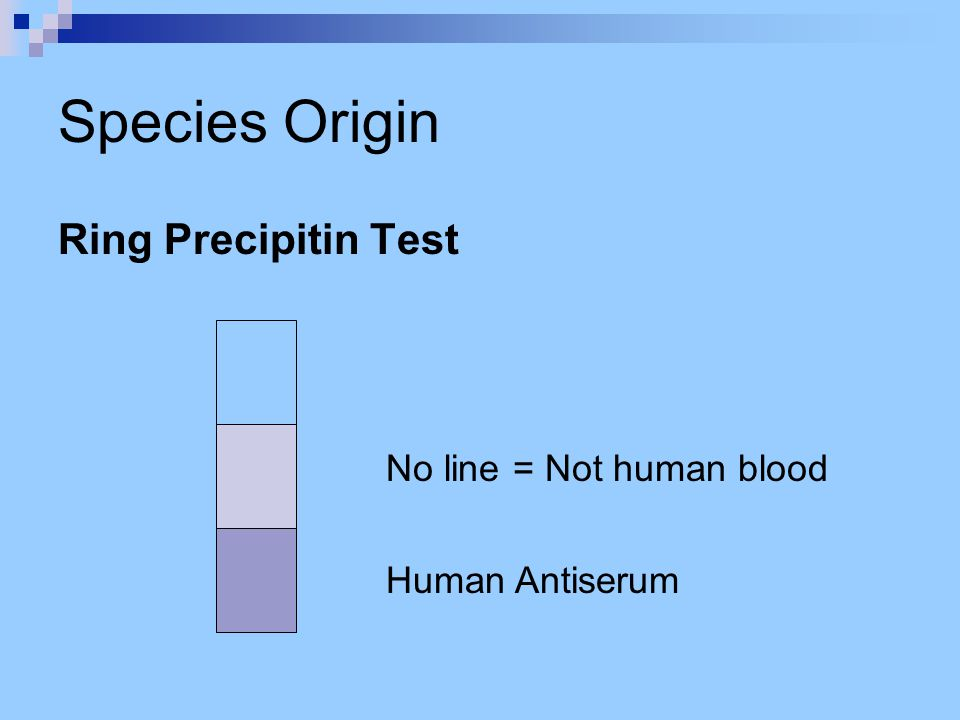 Species Origin Ring Precipitin Test No line = Not human blood