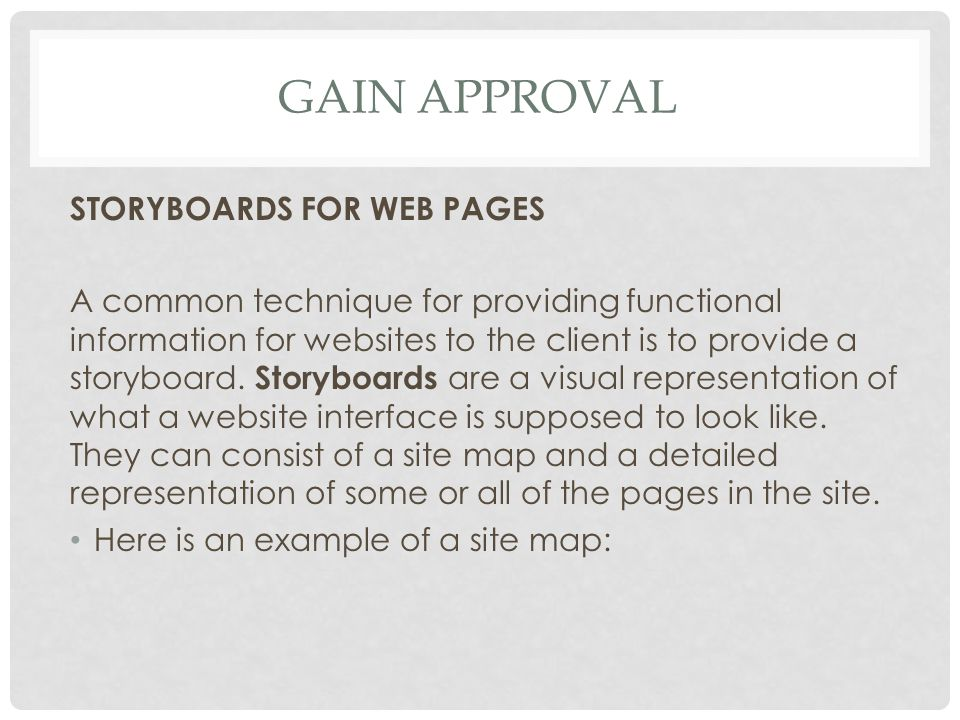 Gain approval STORYBOARDS FOR WEB PAGES