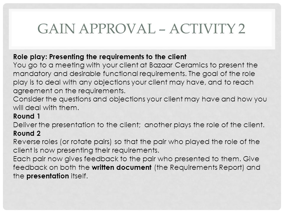 Gain approval – activity 2