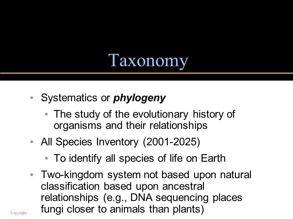 Taxonomy Systematics or phylogeny