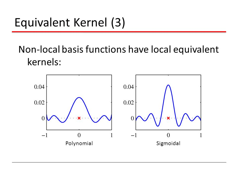 Equivalent Kernel (3) Non-local basis functions have local equivalent kernels: Polynomial Sigmoidal