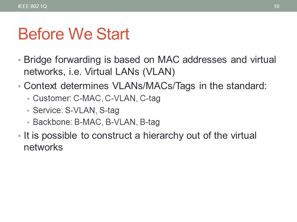 IEEE 802.1Q Before We Start. Bridge forwarding is based on MAC addresses and virtual networks, i.e. Virtual LANs (VLAN)