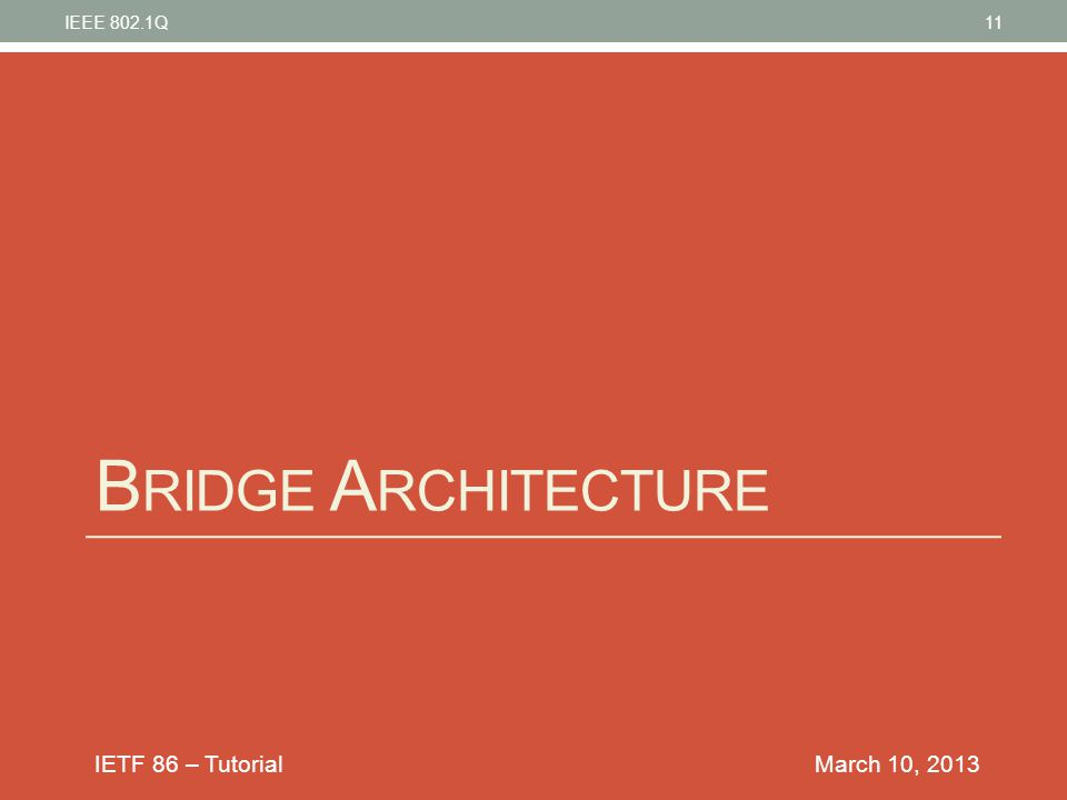 IEEE 802.1Q Bridge Architecture March 10, 2013