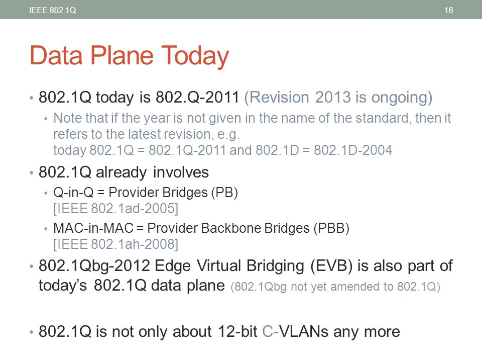 Data Plane Today 802.1Q today is 802.Q-2011 (Revision 2013 is ongoing)