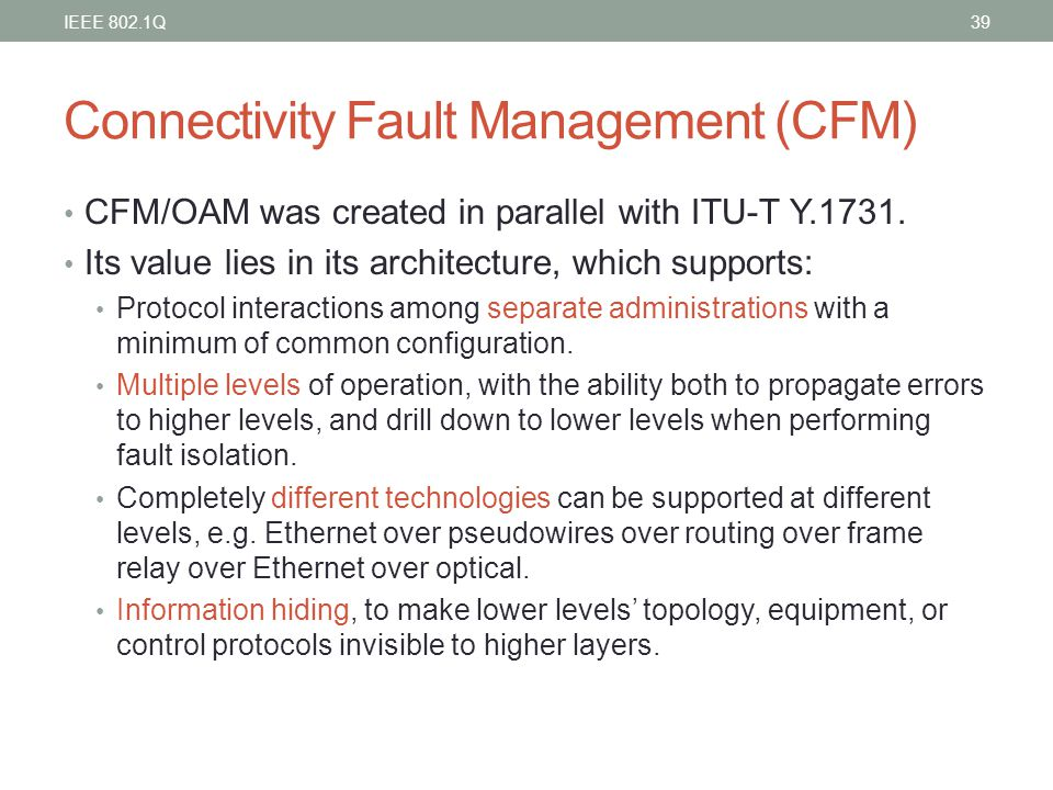 Connectivity Fault Management (CFM)