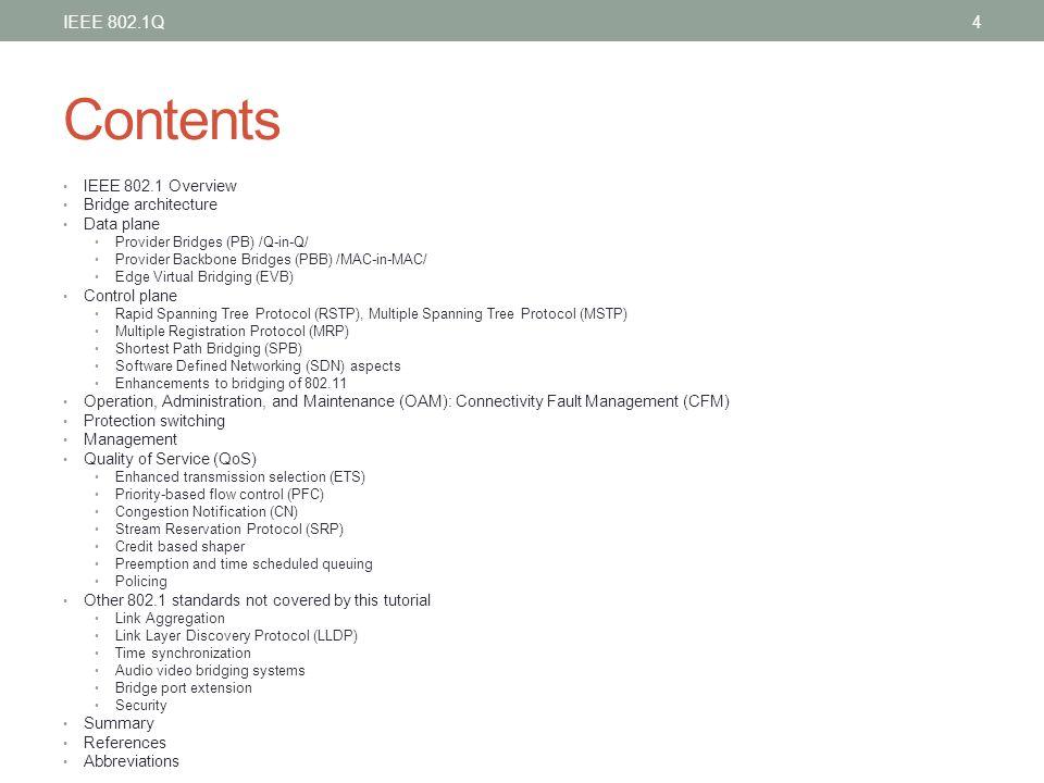Contents IEEE 802.1Q IEEE 802.1 Overview Bridge architecture