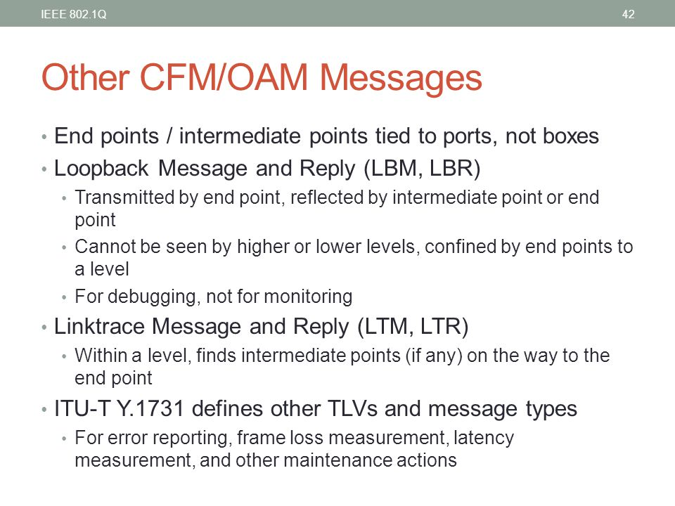 Other CFM/OAM Messages