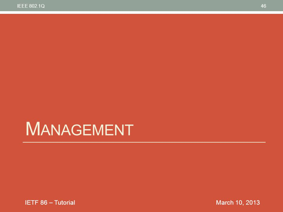 IEEE 802.1Q Management March 10, 2013