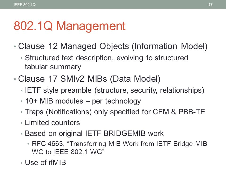 802.1Q Management Clause 12 Managed Objects (Information Model)