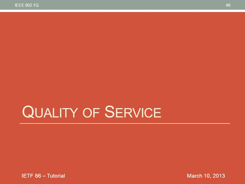 IEEE 802.1Q Quality of Service March 10, 2013