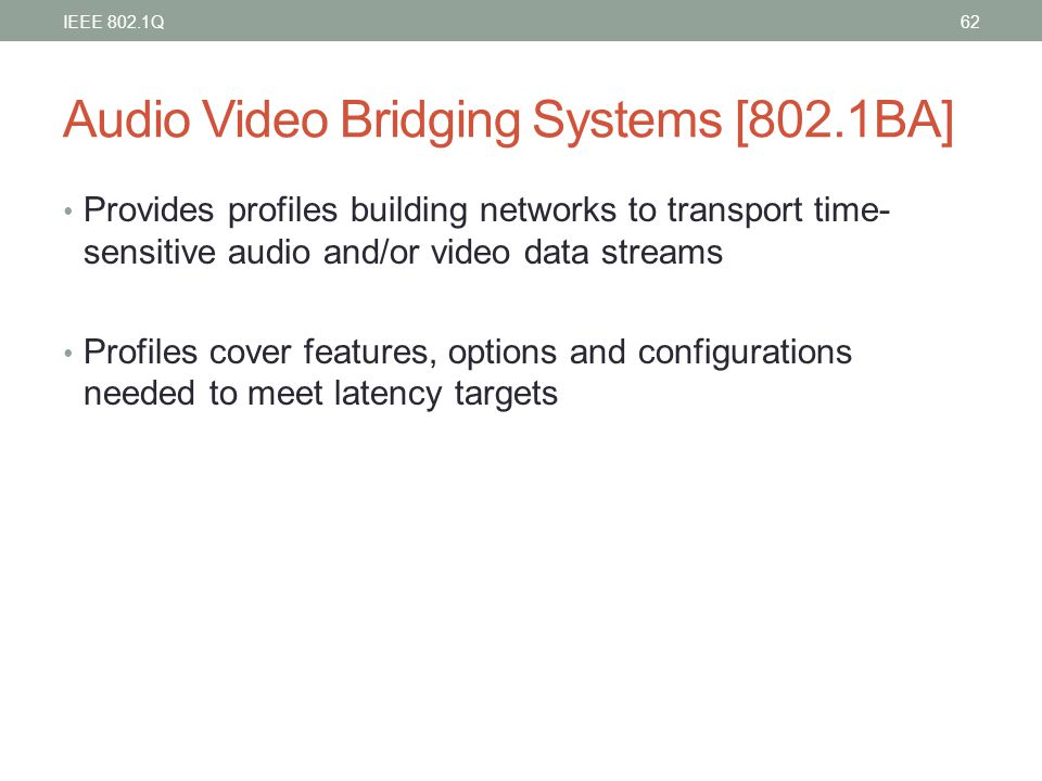 Audio Video Bridging Systems [802.1BA]