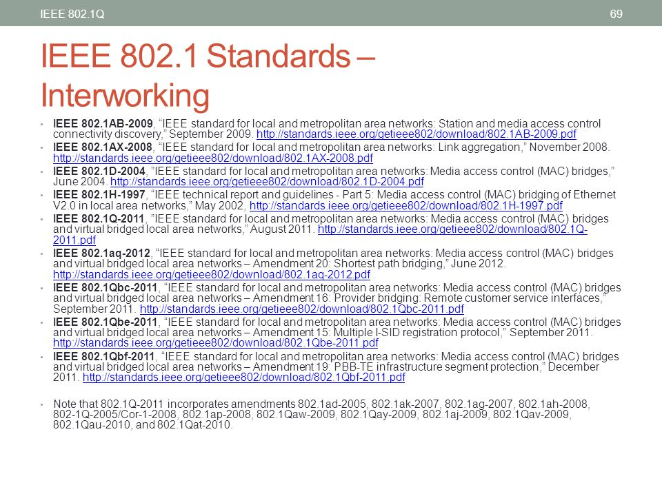IEEE 802.1 Standards – Interworking