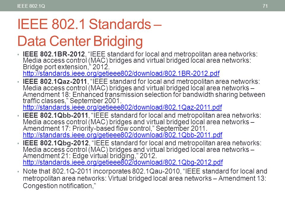 IEEE 802.1 Standards – Data Center Bridging
