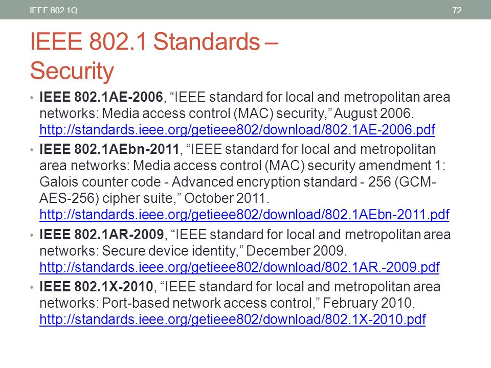 IEEE 802.1 Standards – Security