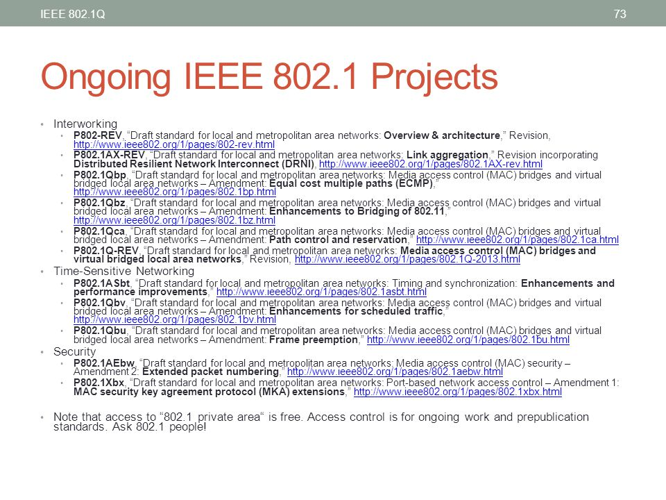 Ongoing IEEE 802.1 Projects Interworking Time-Sensitive Networking