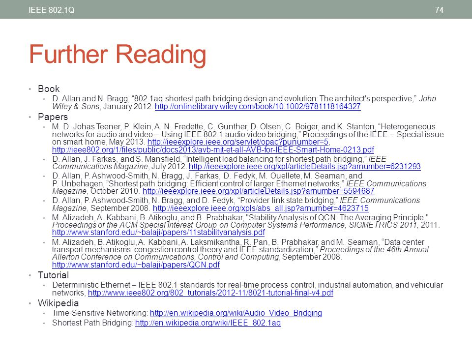 Further Reading Book Papers Tutorial Wikipedia IEEE 802.1Q