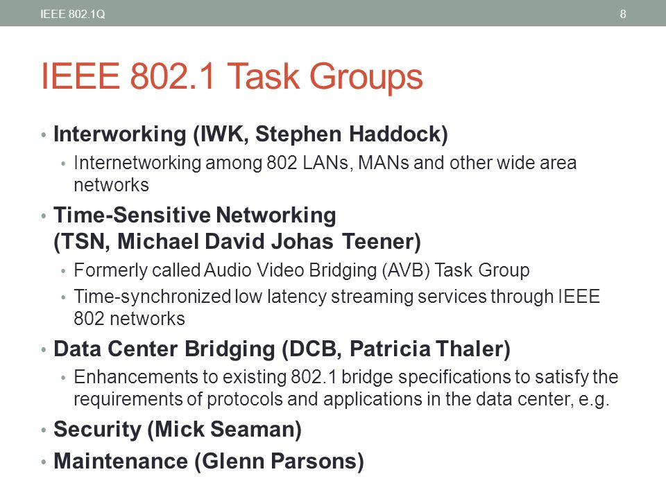 IEEE 802.1 Task Groups Interworking (IWK, Stephen Haddock)