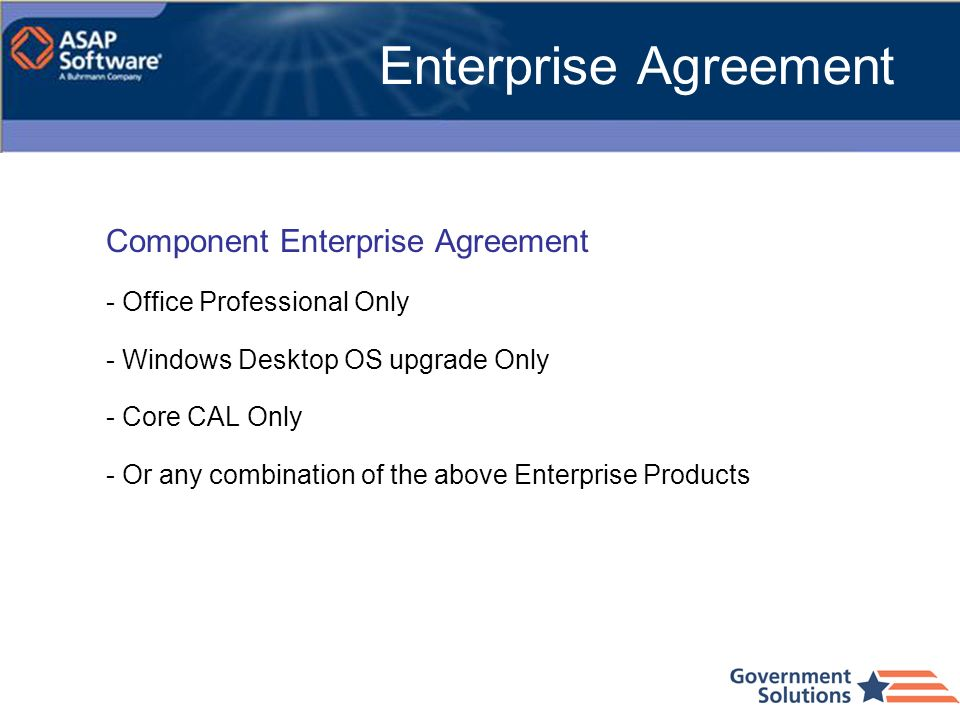Enterprise Agreement Component Enterprise Agreement