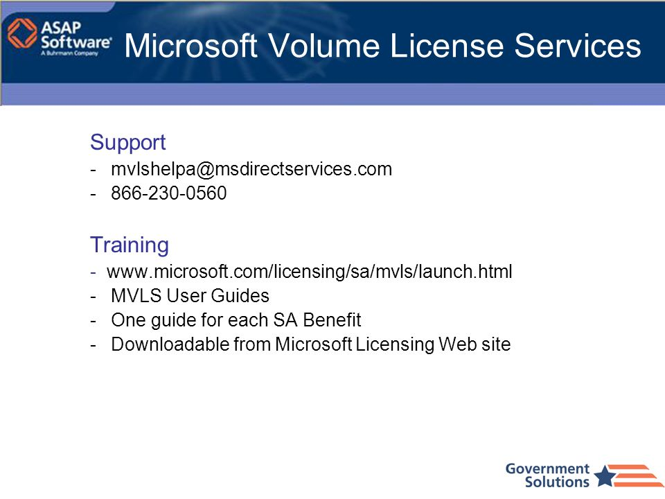 Microsoft Volume License Services