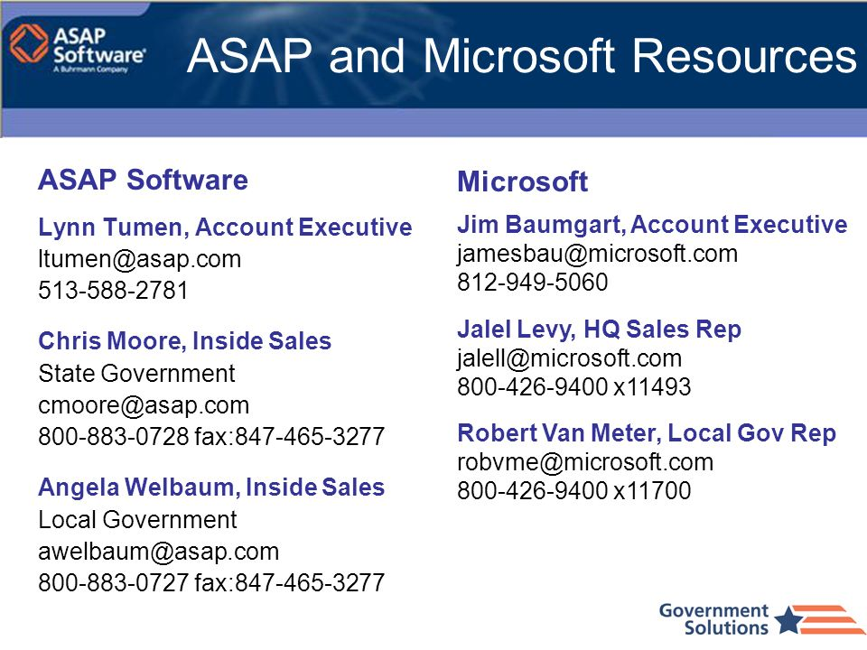 ASAP and Microsoft Resources