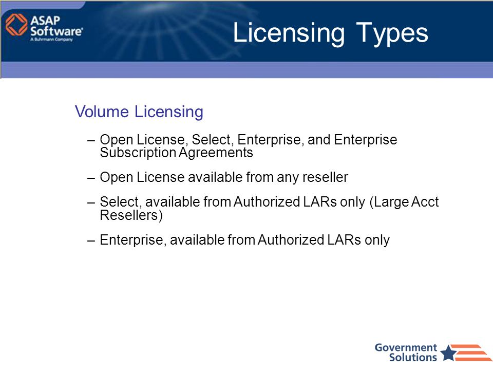Licensing Types Volume Licensing