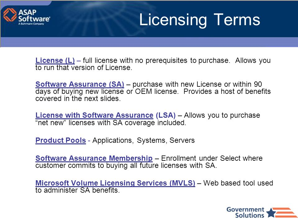 Licensing Terms License (L) – full license with no prerequisites to purchase. Allows you to run that version of License.