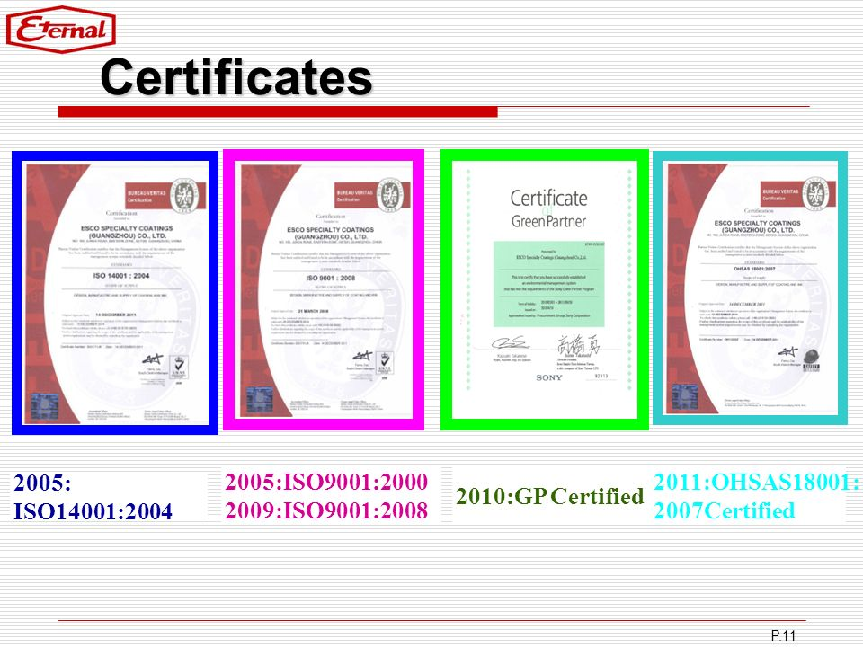 Certificates 2005:ISO9001: :ISO9001: :GP Certified