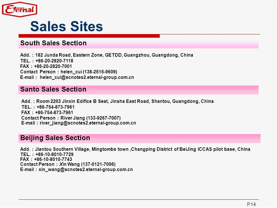 Sales Sites South Sales Section Santo Sales Section