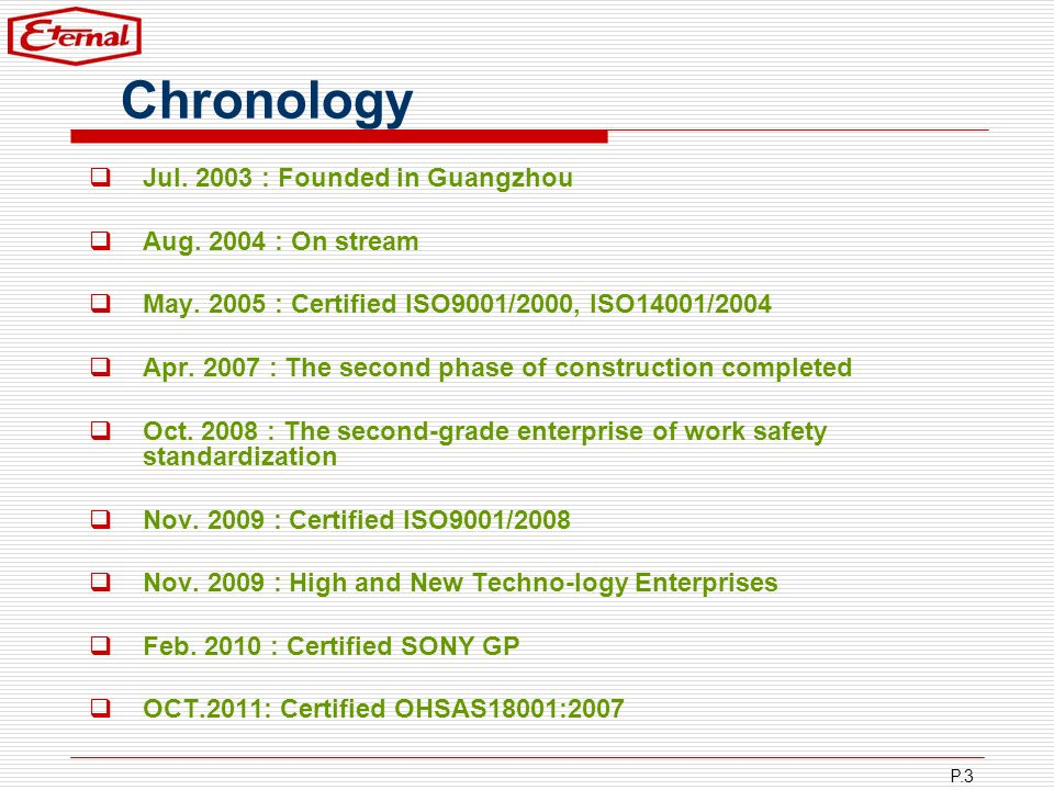 Chronology Jul. 2003 : Founded in Guangzhou Aug. 2004 : On stream