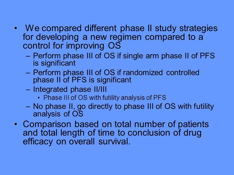 We compared different phase II study strategies for developing a new regimen compared to a control for improving OS