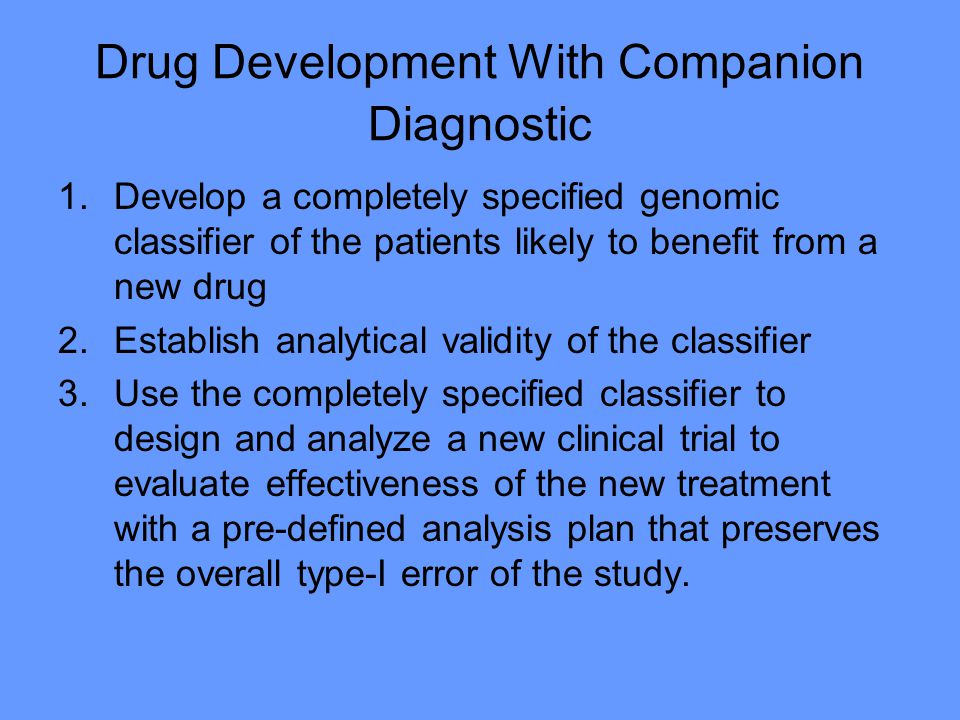 Drug Development With Companion Diagnostic
