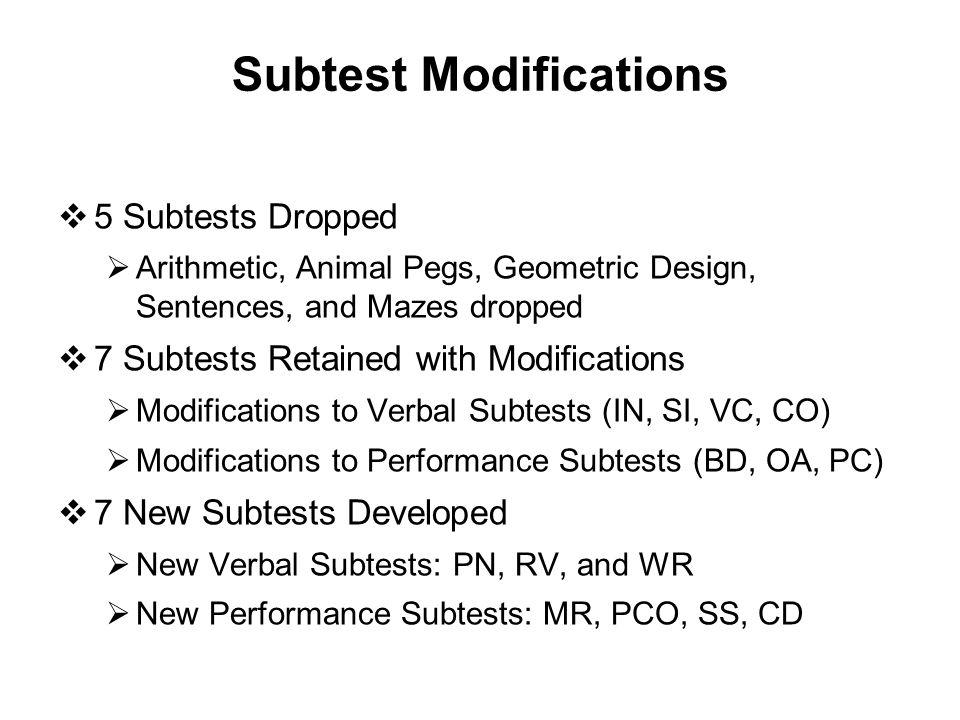 Subtest Modifications