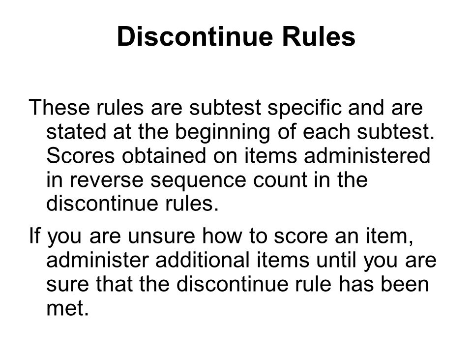 Discontinue Rules